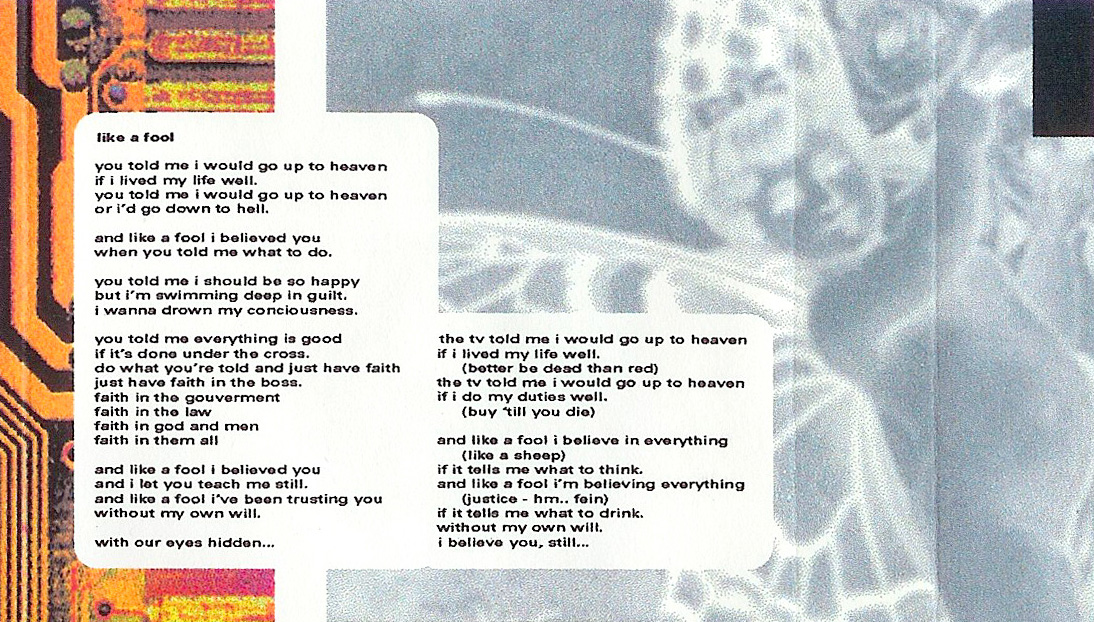 T-ACHE God on the Ladder - Retrospective 91 - 97, Album Cover, excerpt, like a fool, lyrics print